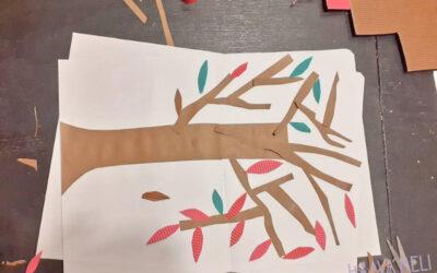 Podzimní tvoření – strom s barevnými listy + šablona